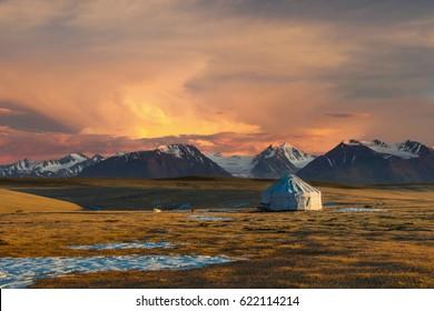 Kazakh yurt on steppe, Kazakhstan, near Almaty city