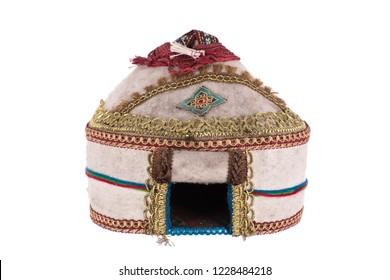 Kazakh yurt on a white background