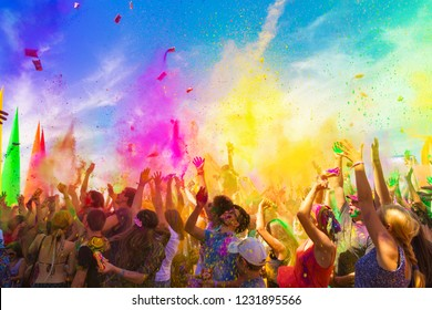 KAZAKHSTAN, ALMATY - AUGUST, 15, 2015: Holi at sixth ethnic festival FourE