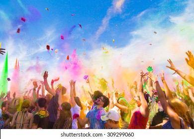 KAZAKHSTAN, ALMATY - AUGUST, 15, 2015: People celebrate Holi holiday at sixth ethnic festival FourE