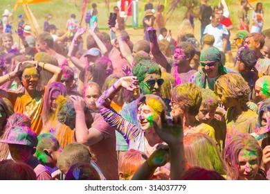 KAZAKHSTAN, ALMATY - AUGUST, 15, 2015: People celebrate Holi holiday at sixth ethnic festival FourE