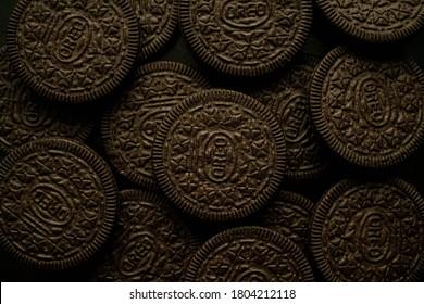 Kazakhstan, Almaty, August 28. Black oreo cookies on a dark background top view