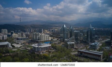 Kazakhstan Almaty city spring landscape drone near telecenter