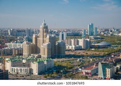 Kazakhstan, Astana, aerial drone panoramic view  31, August 2012