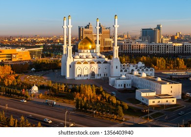 KAZAKHSTAN, ASTANA NUR-SULTAN - OCTOBER 04, 2011:  Morning panorama to Mosque Nur-Astana