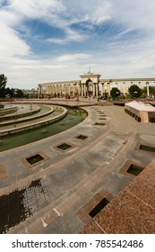 KAZAKHSTAN - AUGUST 23 Fountain at First President's Park on August 23, 2017 in Almaty, Kazakhstan