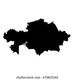 Kazakhstan Black Silhouette Map Outline Isolated on White 3D Illustration