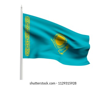 Kazakhstan flag floating in the wind with a White sky background. 3D illustration.