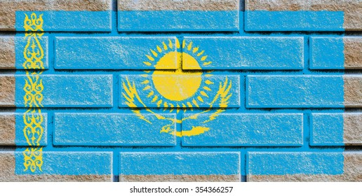 Kazakhstan flag painted on old brick wall texture background