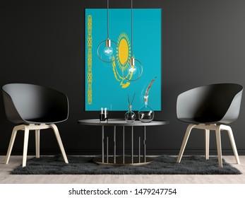 Kazakhstan Flag in Room, Kazakhstan Flag in Photo Frame