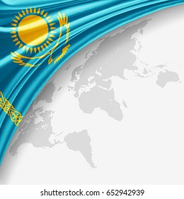 Kazakhstan flag of silk with copyspace for your text or images and World map background-3D illustration