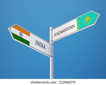 Kazakhstan India High Resolution Sign Flags Concept