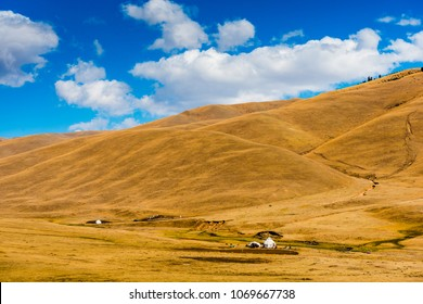 Kazakhstan landscape with nomad traditional Kazakh yurt