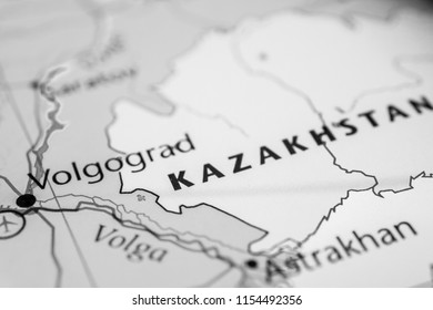 Kazakhstan on map background