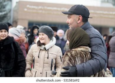 KAZAKHSTAN, PETROPAVLOVSK - December 1, 2016: Feast day of the first president of the Republic of Kazakhstan. Nurlan Abdullin Kazakhstan popular actor, singer. Concert in the street.