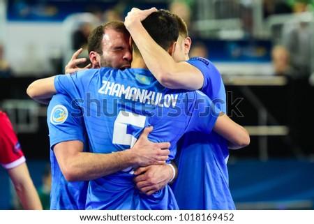 0d76509b1cb0f Kazakhstan players celebrate after scoring during the Serbia vs. Kazakhstan  UEFA European Futsal Championship 2018