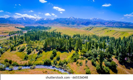 Kazakhstan. Summer landscape. A beautiful view of the foothill area against the background of green trees, clouds and snowy peaks. Nature and travel. Aerial view. Kazakhstan