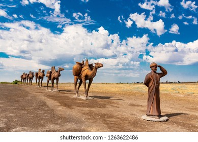 Kazakhstan, Turkestan. June 13, 2018:  Monument of a caravan of camels near Mausoleum of Khoja Ahmed Yasawi, Silk Road