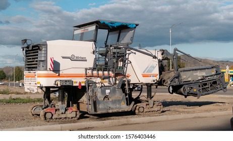Kazakhstan, Ust-Kamenogorsk – 12 September, 2019. Cold milling machines Wirtgen. Pavement milling. Road construction.