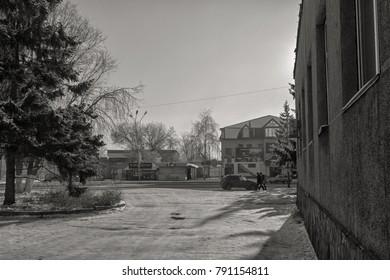Kazakhstan, Ust-Kamenogorsk - January 8, 2018. One of the oldest streets of the city. Grunge urban landscape.