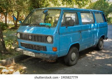 Kazakhstan, Ust-Kamenogorsk, june 12, 2020: Volkswagen Transporter T3 classic German popular van