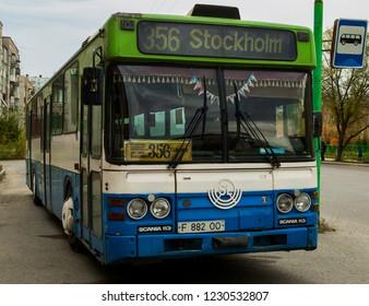 Kazakhstan, Ust-Kamenogorsk, november 13, 2018: Scania CR113 (SL). Old bus. Public transport. Bus stop