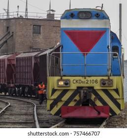 Kazakhstan, Ust-kamenogorsk, november 2, 2017: Switcher or Shunter CKD6E2106                        . Locomotive, train