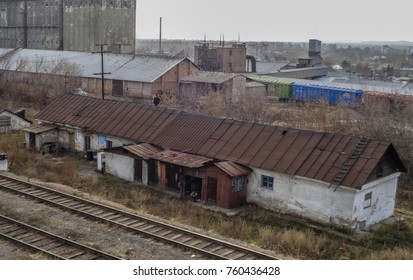 Kazakhstan, Ust-Kamenogorsk, november 2, 2017: Very old building next to the railway. Zashchita