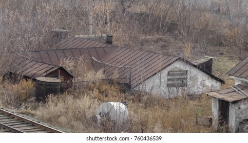 Kazakhstan, Ust-Kamenogorsk, november 2, 2017: Very old building next to the railway. Zashchita district