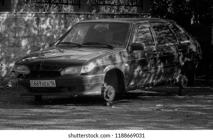 Kazakhstan, Ust-Kamenogorsk, september 4, 2018: Lada Samara. Lada 2114. Car without wheels. Black and white photo