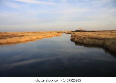 Kazakhstan.Karaganda region. Autumn on a sunny day. River esen. Sunset.