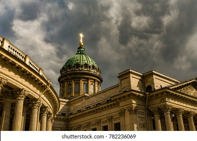 Kazan Cathedral - Dark clouds and bright cross, Saint-Petersburg, Russia