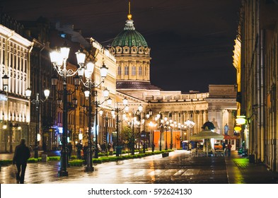 Kazan Cathedral and Nevsky Prospect at night lights old houses Saint Petersburg