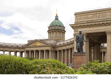 Kazan Cathedral (Cathedral of Our Lady of Kazan) and Barclay Monument in Saint Petersburg, Russia