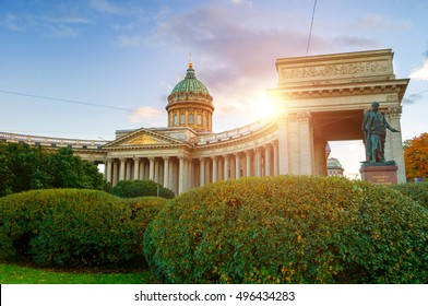 Kazan Cathedral in Saint Petersburg, Russia and monument to Michael Barclay de Tolly -Russian Field Marshal and Minister of War during Napoleon's invasion in 1812