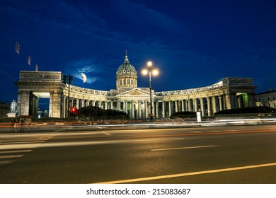 The Kazan Cathedral in St. Petersburg at night illumination in white nights
