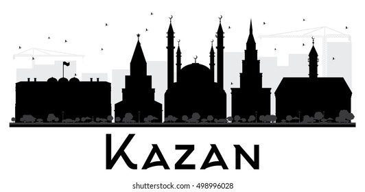Kazan City skyline black and white silhouette. Simple flat concept for tourism presentation, banner, placard or web site. Business travel concept. Cityscape with landmarks