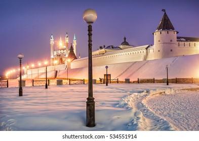 Kazan Kremlin in a frosty winter evening