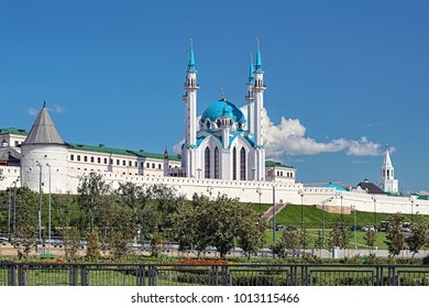 Kazan, Republic of Tatarstan, Russia. View of the Kazan Kremlin with Qolsharif Mosque in the center, Nameless Tower (or Round Tower) on the left and Spasskaya Tower on the right