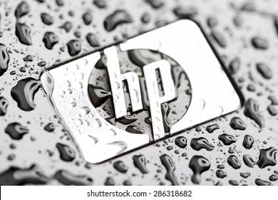 KAZAN, RUSSIA, 10 June 2015: water drops on the Hewlett Packard logo