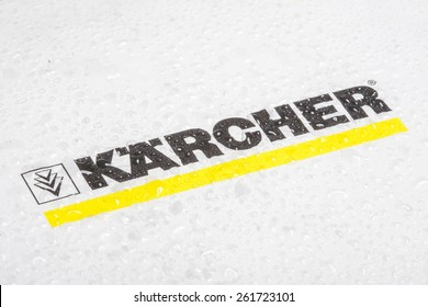 KAZAN, RUSSIA, 15 March 2015: water drops on the Karcher logo