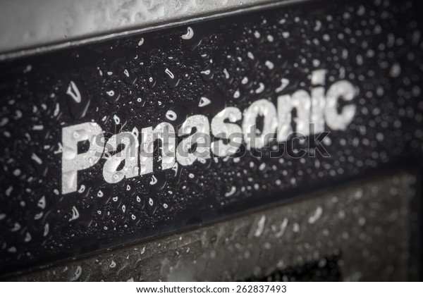 KAZAN, RUSSIA, 15 March 2015: water drops on the Panasonic logo