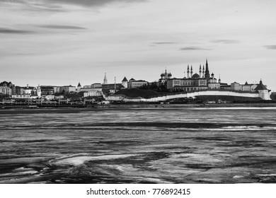 Kazan, Russia. Aerial view of Kremlin of Kazan, Russia at sunset in winter. Historical buildings with frozen river. Black and white