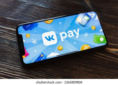 Kazan, Russia - April 09, 2019: VK PAY on Apple Iphone X screen. VK Pay logo