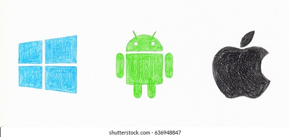 KAZAN, RUSSIA - April 11, 2017: Set of top brand operating system logos, drawed by hand with color pencils. Android, Mac Os, Windows