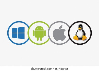 KAZAN, RUSSIA - April 11, 2017: Set of top brand operating system logos, printed on paper. Android, Mac Os, Windows, Linux.