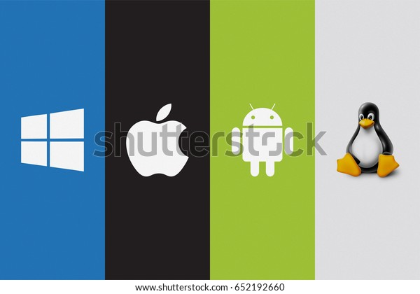 KAZAN, RUSSIA - April 12, 2017: Set of top brand operating system logos, printed on paper. Android, Mac Os, Windows, Linux.