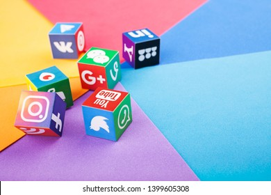 KAZAN, RUSSIA - April 15, 2019: Paper cubes with popular social media logos: Facebook, Twitter, LinkedIn, Instagram, WhatsApp, Youtube, Blogger and other.