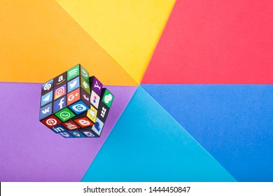 KAZAN, RUSSIA - April 15, 2019: Collection of popular social media logos printed on adhesive paper and placed on cube: Facebook, Twitter, LinkedIn, Instagram, WhatsApp, Youtube, Blogger and other.