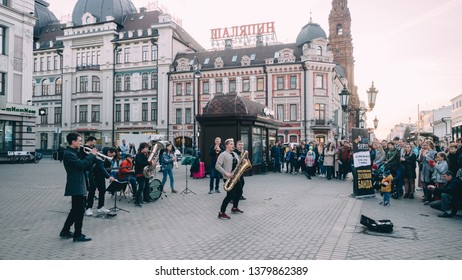 KAZAN, RUSSIA - APRIL 21, 2019. Band musicians in the center of city on Bauman street.